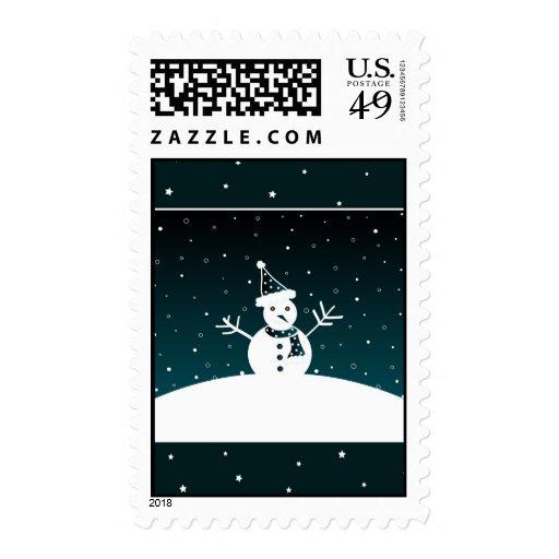 Muñeco de nieve y estrellas - franqueo timbre postal