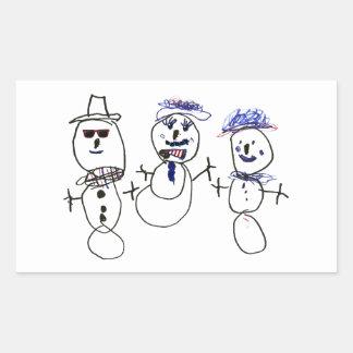Muñeco de nieve y familia rectangular altavoces