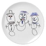 Muñeco de nieve y familia plato