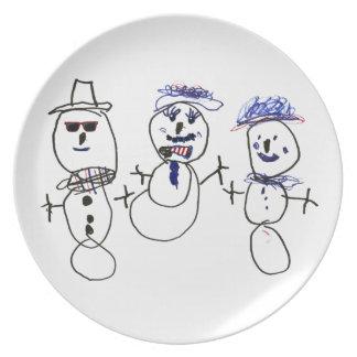 Muñeco de nieve y familia plato de cena