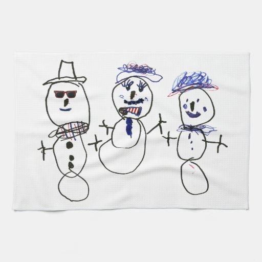 Muñeco de nieve y familia toallas