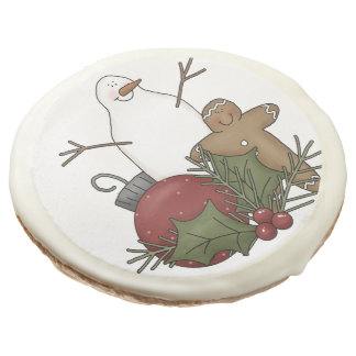 Muñeco de nieve y hombre de pan de jengibre en las