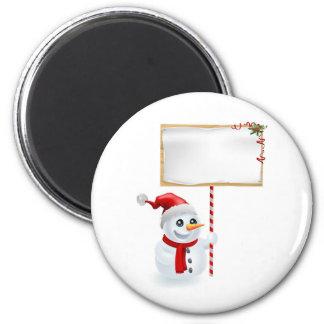 Muñeco de nieve y muestra del navidad imanes