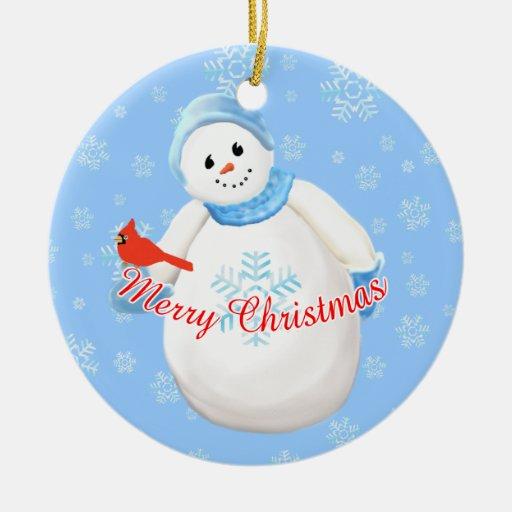 Muñeco de nieve y ornamento cardinal del recuerdo ornamentos de navidad