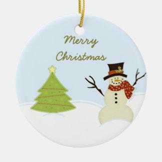 Muñeco de nieve y ornamento del navidad del árbol ornamente de reyes