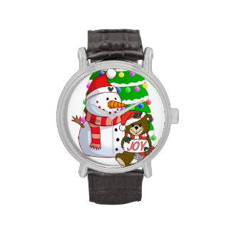 Muñeco de nieve y oso del navidad reloj de mano