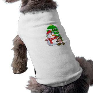 Muñeco de nieve y oso del navidad ropa macota