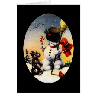¡Muñeco de nieve y perro Cheerio de Scotty! Tarjeta De Felicitación
