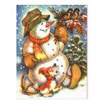 Muñeco de nieve y perro postal