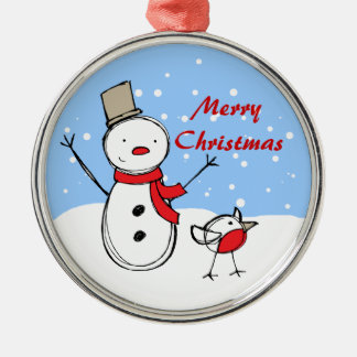 Muñeco de nieve y petirrojo lindos del dibujo adorno redondo plateado