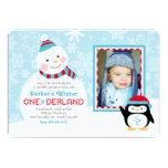 Muñeco de nieve y pingüino del cumpleaños el | de anuncio personalizado