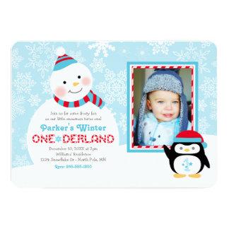 Muñeco de nieve y pingüino del cumpleaños el | de invitación 12,7 x 17,8 cm