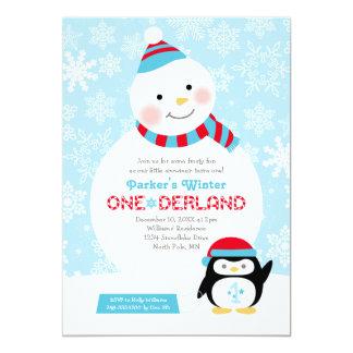 """Muñeco de nieve y pingüino del cumpleaños el   de invitación 5"""" x 7"""""""