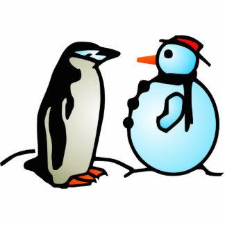 muñeco de nieve y pingüino esculturas fotograficas