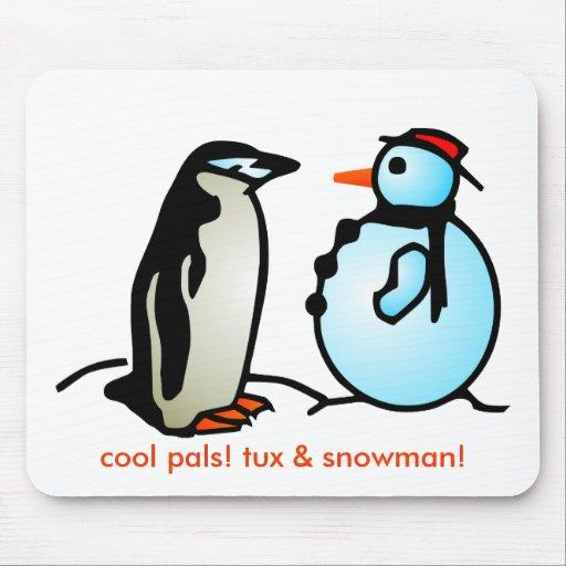 ¡muñeco de nieve y pingüino, pals frescos! ¡tux y  alfombrilla de raton