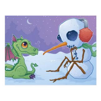 Muñeco de nieve y postal del dragón