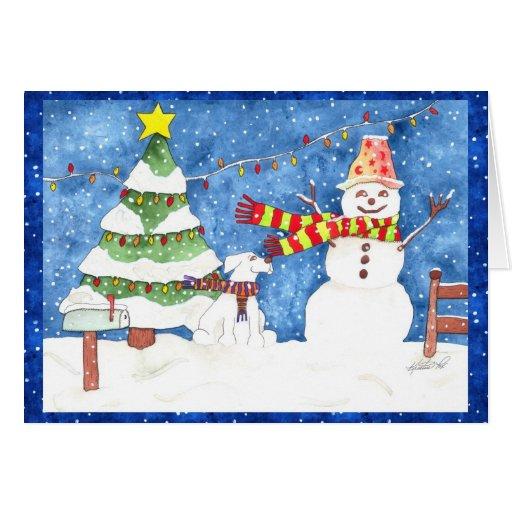 Muñeco de nieve y Snowdog Tarjetas