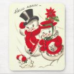 Muñeco de nieve y Snowwoman Mousepad del vintage Alfombrillas De Raton