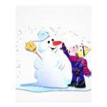 muñeco de nieve y su chica membrete a diseño