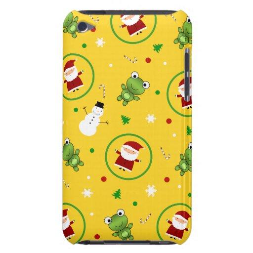 Muñecos de nieve amarillos de Papá Noel de las Barely There iPod Cárcasa