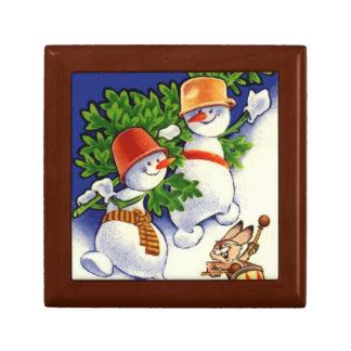 Muñecos de nieve con el árbol de navidad caja de joyas