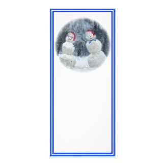"""Muñecos de nieve con los vidrios y los gorras de folleto publicitario 4"""" x 9"""""""