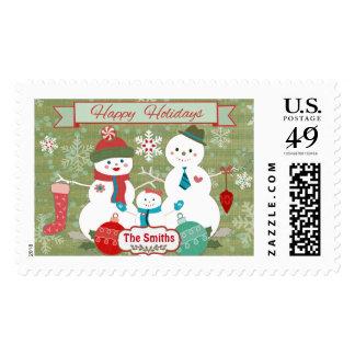 Muñecos de nieve de encargo del invierno que timbre postal
