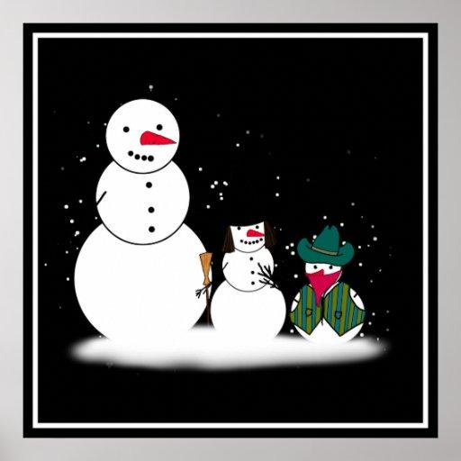 Muñecos de nieve de Halloween del truco o de la in Poster