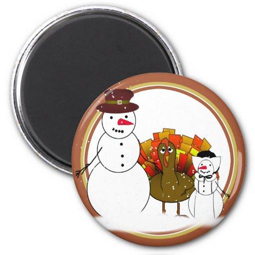 Muñecos de nieve de la acción de gracias imán redondo 5 cm