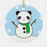 Muñecos de nieve de la panda y del conejito adorno navideño redondo de cerámica