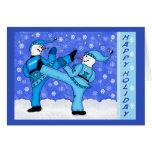 Muñecos de nieve de los artes marciales que golpea tarjetón