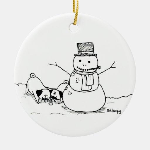 Muñecos de nieve del amor de los barros amasados adornos