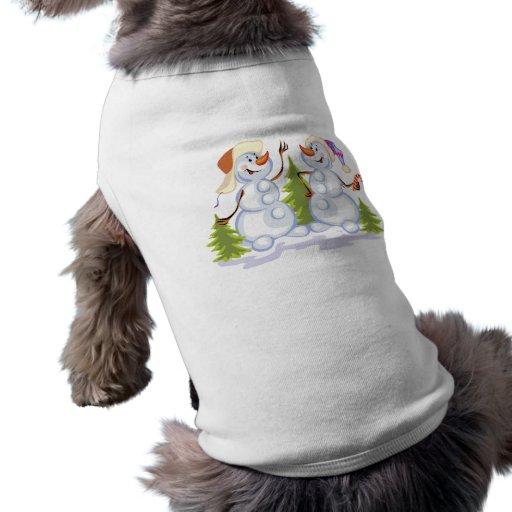 Muñecos de nieve del baile camisa de perrito