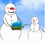 Muñecos de nieve del dibujo animado que vuelven a  escultura fotografica