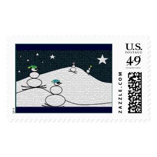 Muñecos de nieve del esquí sello postal