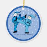 Muñecos de nieve del karate Sparring para el ornam Ornamentos Para Reyes Magos
