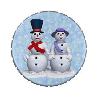 Muñecos de nieve del marido y de la esposa jarrones de dulces