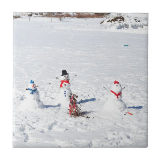 Muñecos de nieve del navidad azulejo cerámica