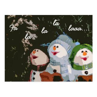 Muñecos de nieve del navidad de Caroling Postal