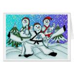 Muñecos de nieve del navidad del karate felicitaciones