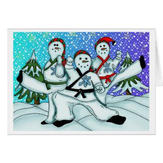 Muñecos de nieve del navidad del karate tarjeta de felicitación