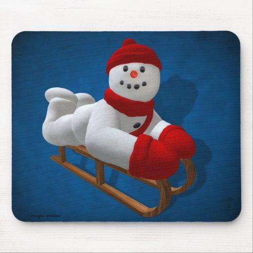 Muñecos de nieve del vintage: Sledder Alfombrillas De Raton