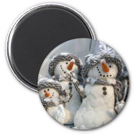 Muñecos de nieve imán redondo 5 cm