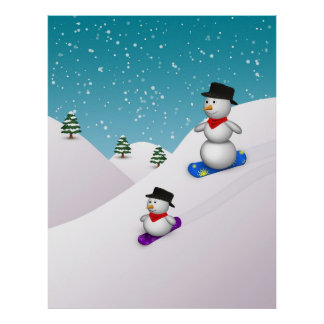 Muñecos de nieve lindos de la snowboard - poster