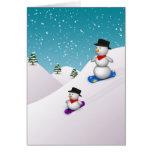 Muñecos de nieve lindos de la snowboard - tarjeta