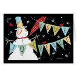 Muñecos de nieve modernos amor, alegría, paz tarjeta de felicitación