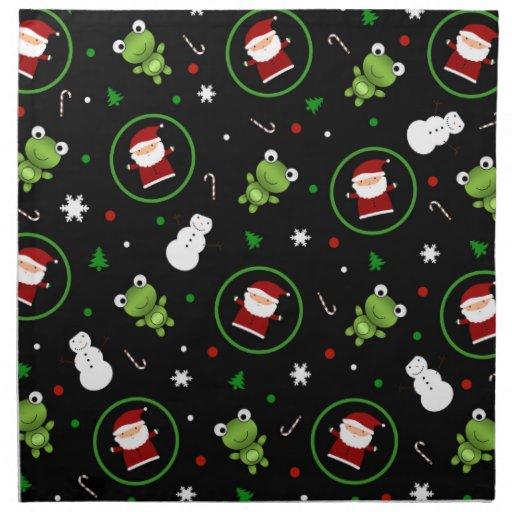Muñecos de nieve negros de Papá Noel de las ranas Servilleta Imprimida