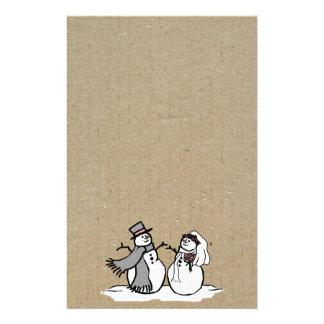 Muñecos de nieve novia del invierno y boda del nov papelería personalizada