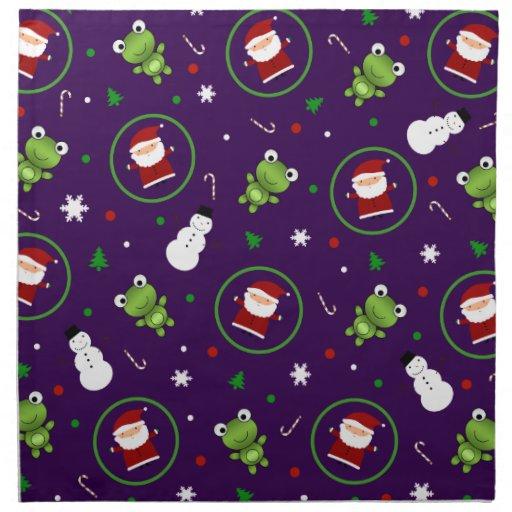 Muñecos de nieve púrpuras de Papá Noel de las Servilleta Imprimida