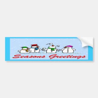 Muñecos de nieve que hacen juegos malabares pegatina para auto